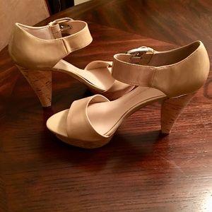 Franco Sarto Strappy Cork Heel Sandals Size 11